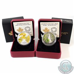 Lot of 2x 2014 Canada $20 Maple Canopy Fine Silver Coins - Autumn Allure (Capsule scratched on back)