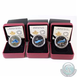 3x 2014 Canada $20 Great Lakes Fine Silver Coins - Lake Erie, Lake Superior & Lake Ontario (Capsules
