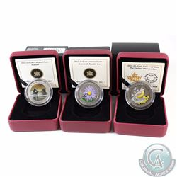 3x Canada 25-cent Coloured Bird Coins - 2012 Aster and Bumble Bee, 2013 Mallard (Capsule cracked) &