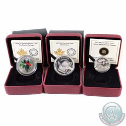Lot of 3x RCM Coins - 2013 $3 Martin Short Presents Canada Fine Silver, 2014 $5 Alice Munro Fine Sil