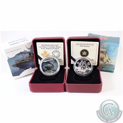 Lot of 2x RCM Fine Silver Coins - 2012 $10 HMS Shannon (Capsule is scratched on back) & 2014 $20 Los