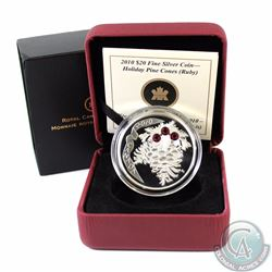 2010 Canada $20 Ruby Crystal Pinecone Fine Silver Coin (Outer sleeve has a corner bump) (TAX Exempt)
