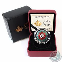 2014 Canada $25 Christmas Ornament Fine Silver Coin (Outer sleeve has dented corner) (TAX Exempt)