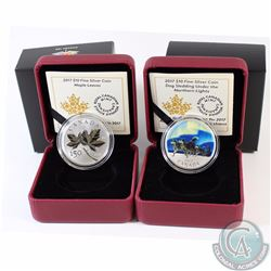 Lot of 2x 2017 Canada $10 Fine Silver Coins. You will receive Dog Sledding Under the Northern Lights