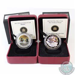 2013 Canada 25-cent Coloured Mallard & 2014 $10 Fine Silver Coloured Pintail. 2pcs (TAX Exempt)