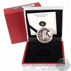2010 Canada $15 Zodiac Year of the Tiger Fine Silver Coin (Capsule is lightly scratched) (TAX Exempt