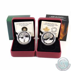 Lot of 2x Canada $20 Story of the Northern Lights Fine Silver Coins - 2013 The Great Hare & 2014 The