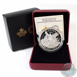 2014 Canada $30 National Aboriginal Veterans Monument Fine Silver Coin (Sleeve label is lightly worn