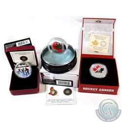 Lot of 3x Canada $20 Hockey Coins. You will receive 2009 Sterling Silver Ottawa Senators Goalie Mask