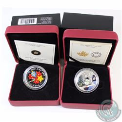 2013 Canada $20 Candy Cane & 2014 $20 Snowman Venetian Glass Fine Silver Coins. 2pcs (TAX Exempt)