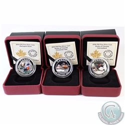 Lot of 3x Canada $10 Ducks of Canada Fine Silver Coins - 2014 Harlequin Duck, 2015 Cinnamon Teal & 2