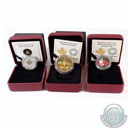 Lot of 3x Canada Maple Leaf Fine Silver Coins - 2013 Maple Leaf Impression, 2015 Coloured 50th Anniv
