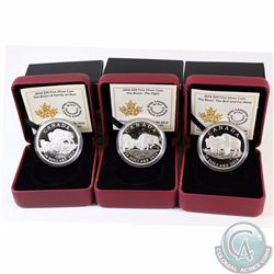 Lot of 3x 2014 Canada $20 The Bison Fine Silver Coins - The Bull and His Mate, A Family at Rest & Th