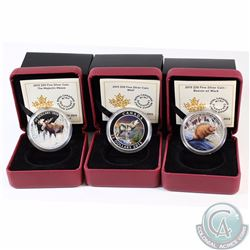 Lot of 3x 2015 Canada $20 Fine Silver Coins - The Majestic Moose (Small crack in capsule), The Wolf