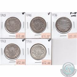 1936, 1943, 1944, 1945 & 1946 Canada 50-cent Coins in either F-VF or VF Condition. 5pcs