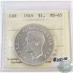 1949 Canada Silver Dollar ICCS Certified MS-65