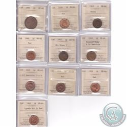 Lot of 10x ICCS Certified 1-cent Coins from 1896 to 1965. This lot includes the following: 1896 EF-4