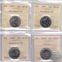 Lot of 4x Canada 25-cent ICCS Certified Coins. This lot includes the following 25-cent coins: 1997 M