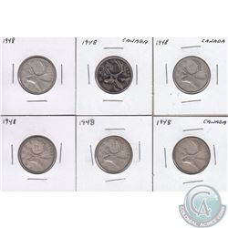 Estate Lot of 6x 1948 Canada 25-cent coins in VG to Fine Condition. 6pcs