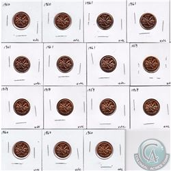 Estate Lot of 15x Canada Uncirculated 1-cent coins. This lot includes the following 1-cents coins: 5