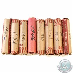 Lot of 8x 1939 to 1952 Canada 1-cent rolls of 50pcs. This lot includes the following rolls: 1939, 19