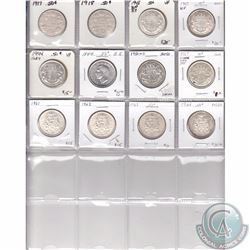 Lot of 12x Canada Silver 50-cent coins from 1917 to 1964. You will receive the following dates grade