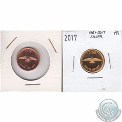 1967 & 2017 Canada Centennial Commemorative 1-cent coins in Proof & Proof-Like condition (TAX Exempt