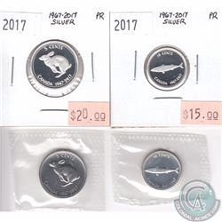 1967 & 2017 Canada Centennial Commemorative 5-cent & 10-cent coins in Proof & Proof-Like condition.