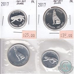 1967 & 2017 Canada Centennial Commemorative 25-cent & 50-cent coins in Proof & Proof-Like condition.