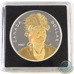 2007 Canada Joseph Bryant Gold Plated Proof Sterling Silver Dollar.