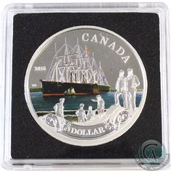 2016 Canada 150th Anniversary of the Transatlantic Cable Coloured Proof Silver Dollar (Tax Exempt)
