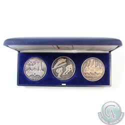 1972 Munich Germany Olympics 3-coin Sterling Silver Set in Intercoin Blue Display Case (Coins have s