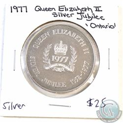 1977 Ontario Queen Elizabeth II Silver Jubilee Commemorative Medal. 38mm in diameter (Coin is toned)