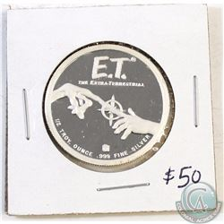 E.T. the Extra-terrestrial 1/2oz .999 Fine Silver Coin. 30mm in diameter (TAX Exempt)