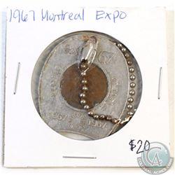 1967 Montreal Expo Good Luck Token with 1967 1-cent.