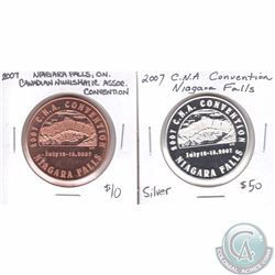 Lot of 2x 2007 Niagara Falls, Ontario Canadian Numismatic Association Convention Medallions. You wil