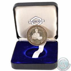 1973 Kitchener-Waterloo Oktoberfest .999 Fine Silver Dollar in Black Display Box (Coin is toned and