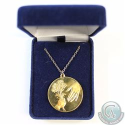 1973 24kt Gold Plated Sterling Silver Mother's Day Medallion on Gold Plated Chain in Blue Display Bo