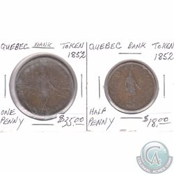 1852 Quebec Half Penny & One Penny tokens. 2pcs