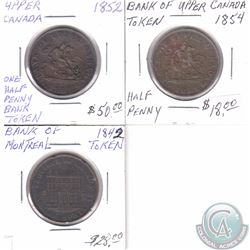 Lot of 3x Bank of Upper Canada tokens. This lot includes: 1842 Half Penny, 1852 One Penny & 1854 Hal