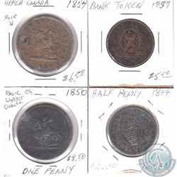 Lot of 4x Canada Bank tokens. This lot includes: 1850 One Penny, 1844 Half Penny, 1837 Half Penny &
