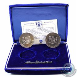 1977 Canada Queen's Silver Jubilee 2-coin 1oz .999 Fine Silver Medallion set. To mark the Silver Jub