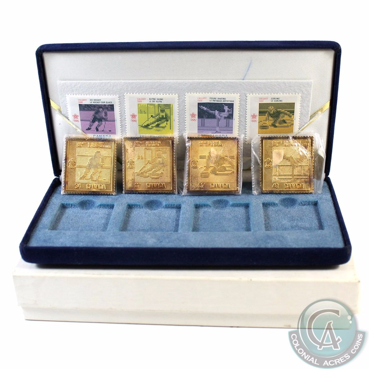 1988 Calgary Olympics gold plated Sterling Silver Stamp Replica Set ...