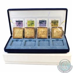 1988 Calgary Olympics gold plated Sterling Silver Stamp Replica Set. This set contains four gold pla