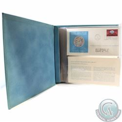 1972 United Nations Sterling Silver Proof Medallic Art First Day Cover Stamp Album. This album conta