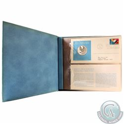 1975 United Nations Sterling Silver Proof Medallic Art First Day Cover Stamp Album. This album conta