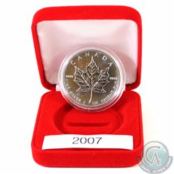 2007 Canada 1oz Fine Silver Maple Leaf (TAX Exempt). Coin comes encapsulated in a red presentation c