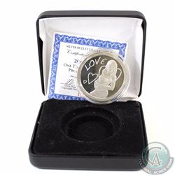 2013 LOVE 1oz Fine Silver Medallion (TAX Exempt). Coin comes encapsulated in a black clamshell case