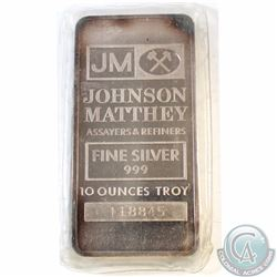 Vintage Johnson Matthey 10oz 999 Fine Silver Bar (Tax Exempt). Serial # 118845. 10oz example produce