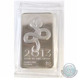 2013 NTR Year of the Snake 10oz 999 Fine Silver Bar (TAX Exempt). Sealed in original packaging.